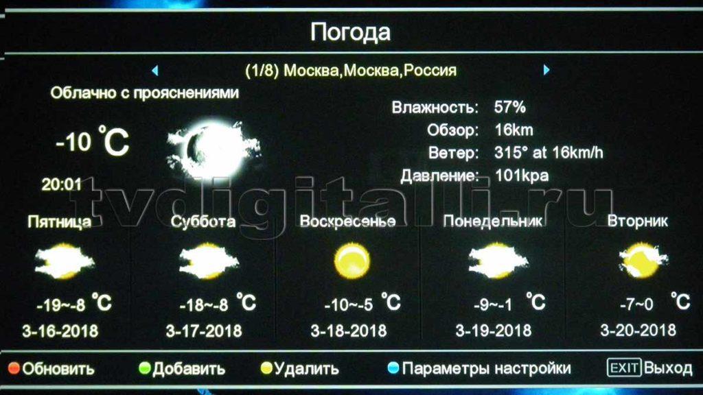 Вкладка погода