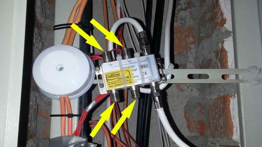 Подключение телевизионного кабеля в щитке к ответвителю